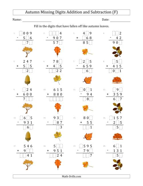 The Autumn Missing Digits Addition and Subtraction (Easier Version) (F) Math Worksheet