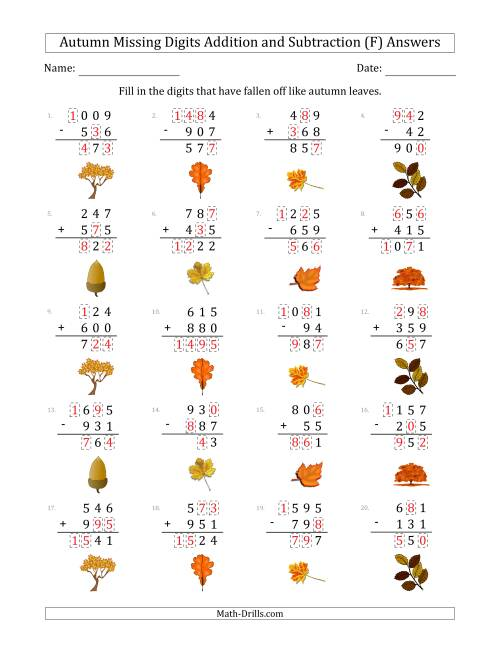 The Autumn Missing Digits Addition and Subtraction (Easier Version) (F) Math Worksheet Page 2