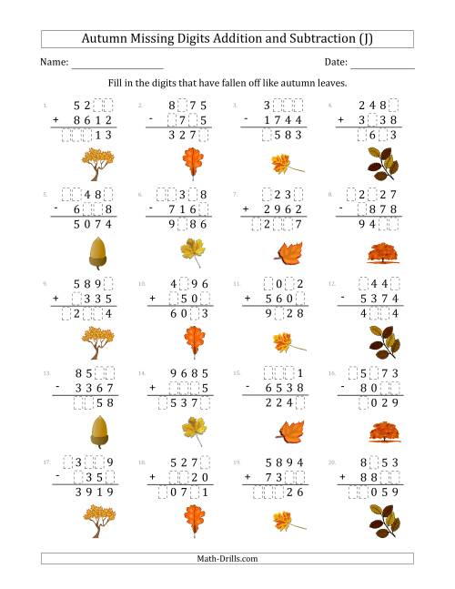 The Autumn Missing Digits Addition and Subtraction (Harder Version) (J) Math Worksheet