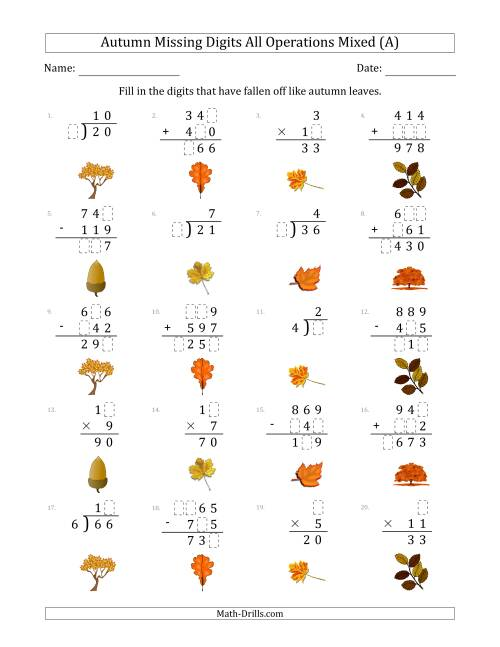 The Autumn Missing Digits All Operations Mixed (Easier Version) (A) Math Worksheet