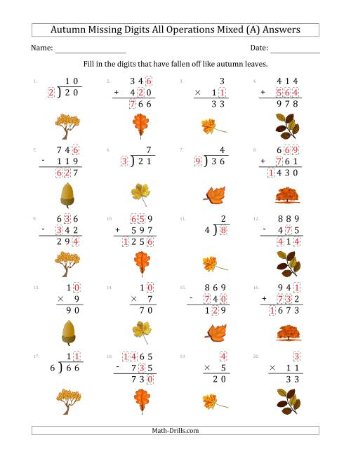 The Autumn Missing Digits All Operations Mixed (Easier Version) (A) Math Worksheet Page 2