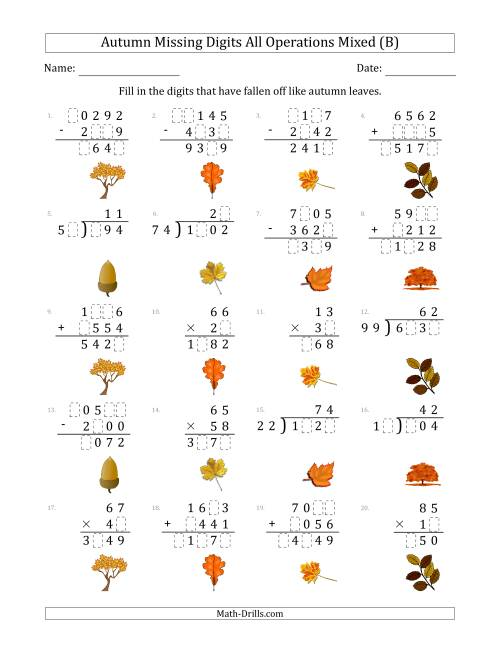 The Autumn Missing Digits All Operations Mixed (Harder Version) (B) Math Worksheet