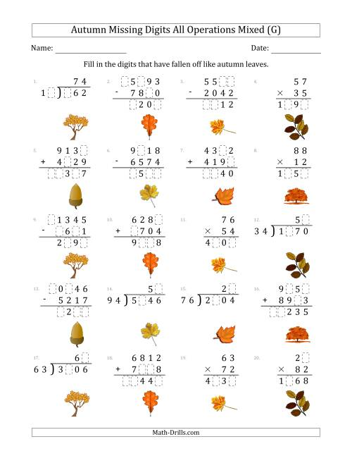 The Autumn Missing Digits All Operations Mixed (Harder Version) (G) Math Worksheet