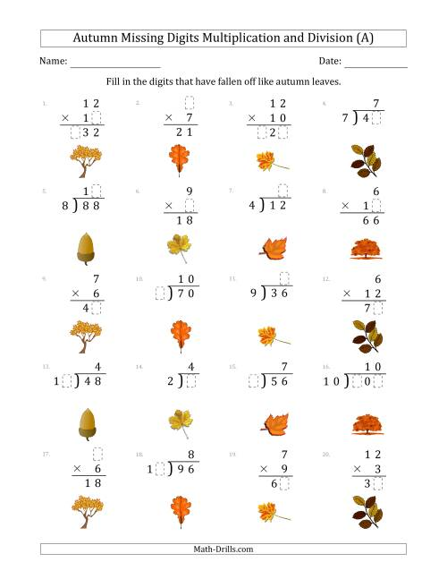 The Autumn Missing Digits Multiplication and Division (Easier Version) (A) Math Worksheet