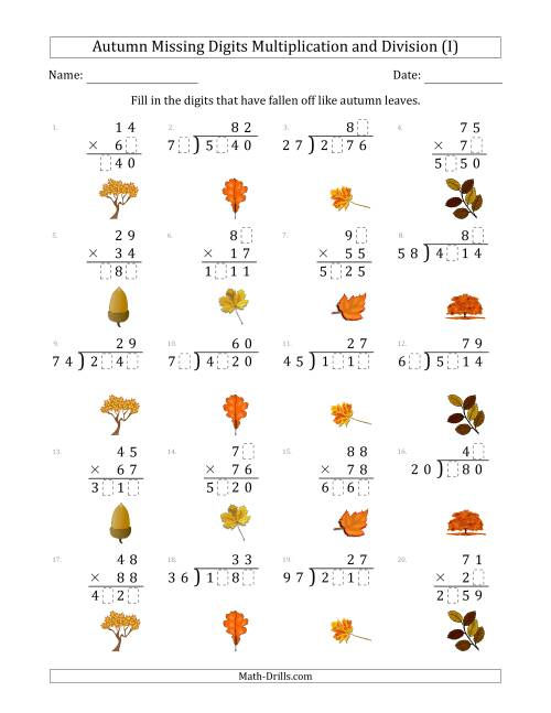 The Autumn Missing Digits Multiplication and Division (Harder Version) (I) Math Worksheet