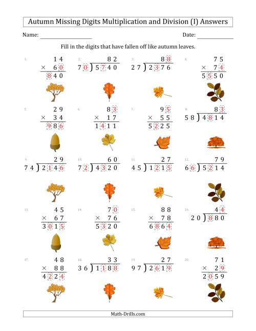The Autumn Missing Digits Multiplication and Division (Harder Version) (I) Math Worksheet Page 2