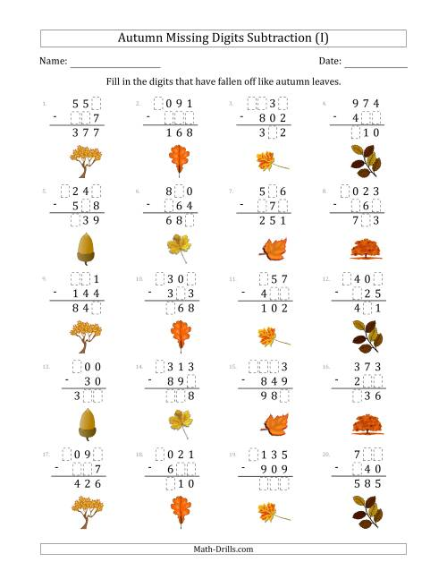 The Autumn Missing Digits Subtraction (Easier Version) (I) Math Worksheet