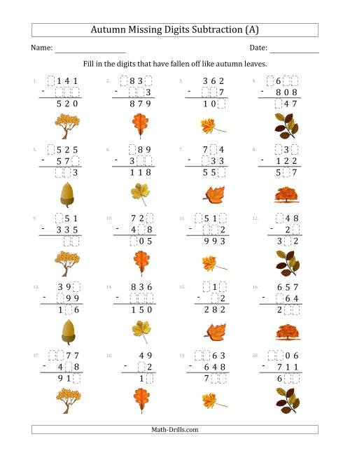 The Autumn Missing Digits Subtraction (Easier Version) (All) Math Worksheet