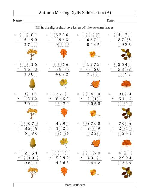 The Autumn Missing Digits Subtraction (Harder Version) (A) Math Worksheet