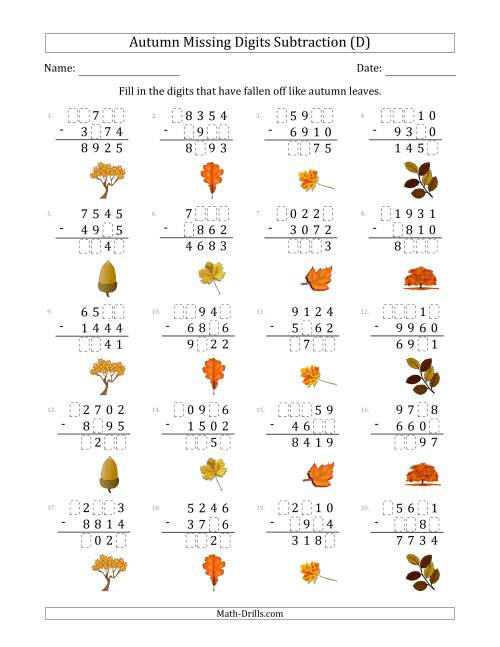 The Autumn Missing Digits Subtraction (Harder Version) (D) Math Worksheet