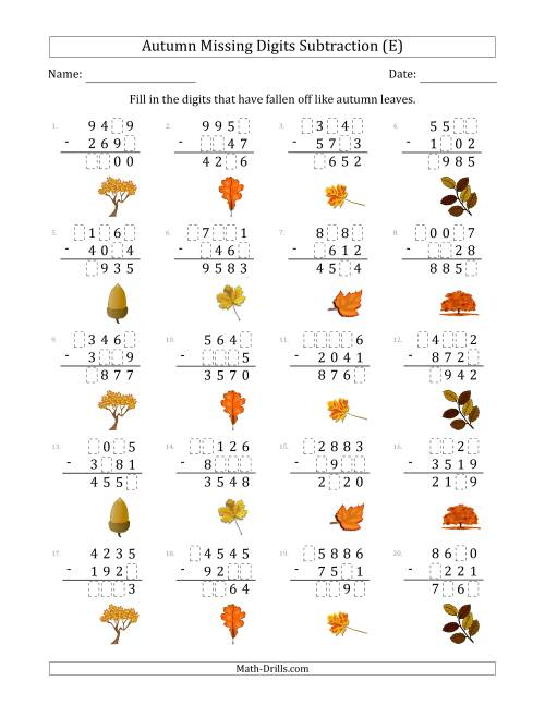 The Autumn Missing Digits Subtraction (Harder Version) (E) Math Worksheet