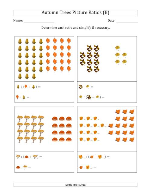 The Autumn Trees Picture Ratios (Grouped) (B) Math Worksheet