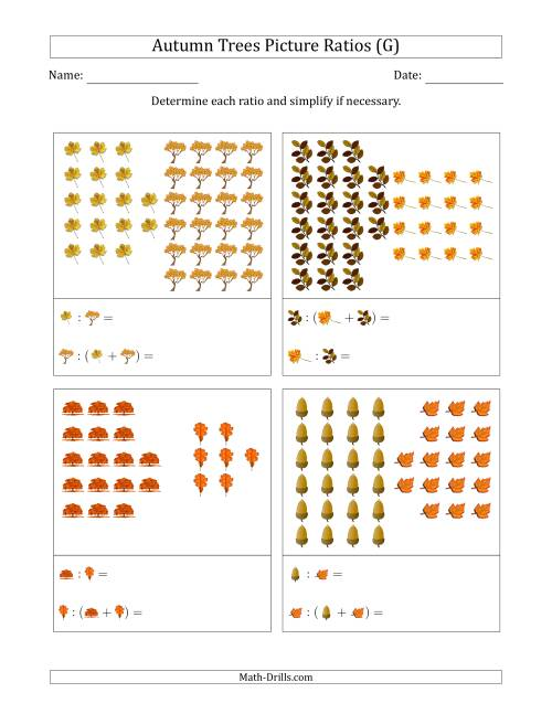 The Autumn Trees Picture Ratios (Grouped) (G) Math Worksheet