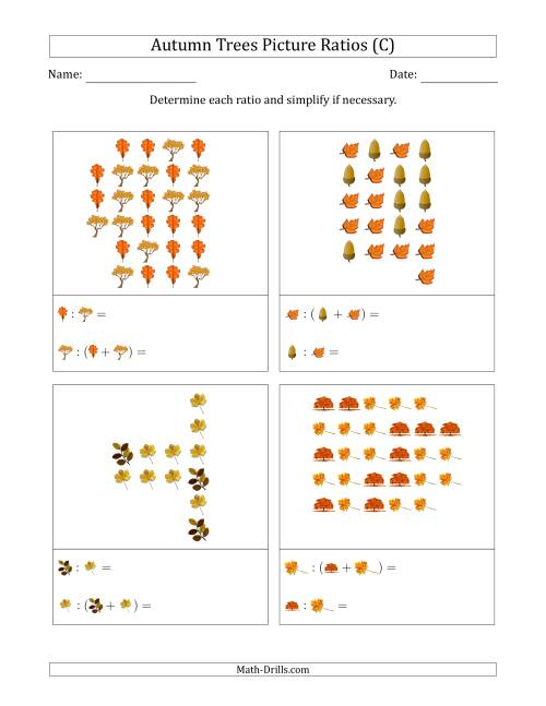 The Autumn Trees Picture Ratios (Scattered) (C) Math Worksheet