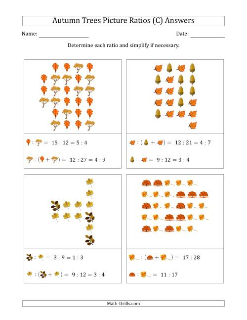 The Autumn Trees Picture Ratios (Scattered) (C) Math Worksheet Page 2