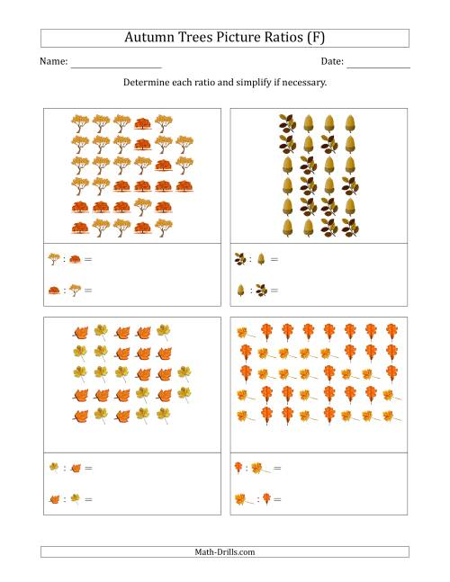The Autumn Trees Part-to-Part Picture Ratios (Scattered) (F) Math Worksheet