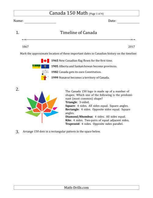 The Canada 150 Math Word Problems Math Worksheet