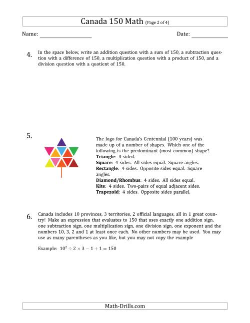 The Canada 150 Math Word Problems Math Worksheet Page 2