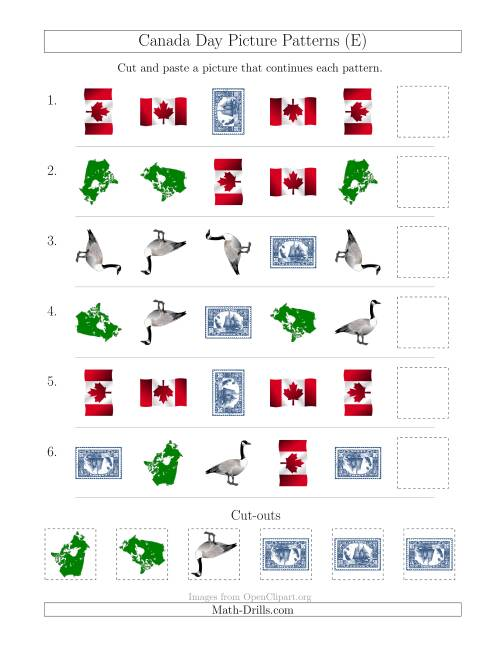 The Canada Day Picture Patterns with Shape and Rotation Attributes (E) Math Worksheet