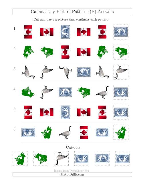 The Canada Day Picture Patterns with Shape and Rotation Attributes (E) Math Worksheet Page 2