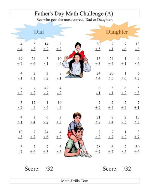 The Father's Day Dad and Daughter Challenge -- All Operations Range 1 to 7 (A) Holiday Math Worksheet