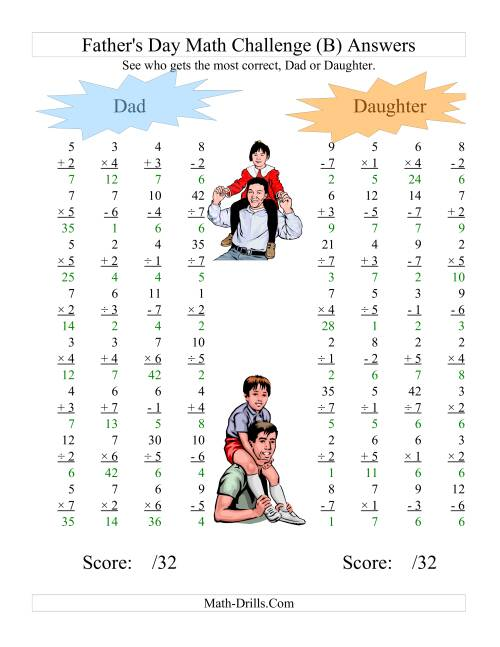 The Father's Day Dad and Daughter Challenge -- All Operations Range 1 to 7 (B) Math Worksheet Page 2