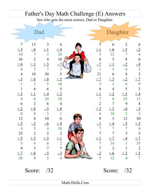 The Father's Day Dad and Daughter Challenge -- All Operations Range 1 to 7 (E) Math Worksheet Page 2