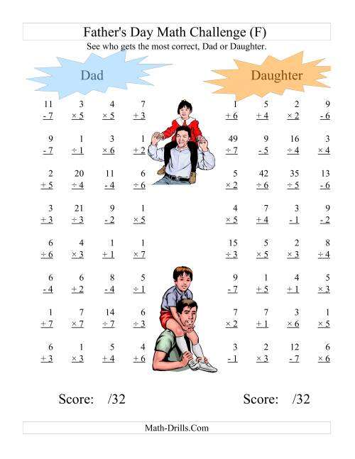 The Father's Day Dad and Daughter Challenge -- All Operations Range 1 to 7 (F) Math Worksheet