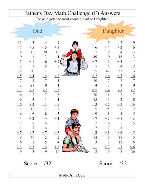 The Father's Day Dad and Daughter Challenge -- All Operations Range 1 to 7 (F) Math Worksheet Page 2