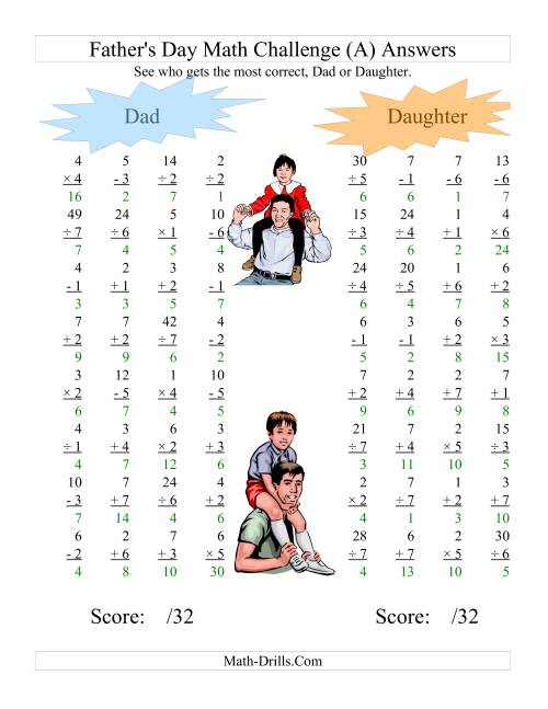 The Father's Day Dad and Daughter Challenge -- All Operations Range 1 to 7 (All) Math Worksheet Page 2