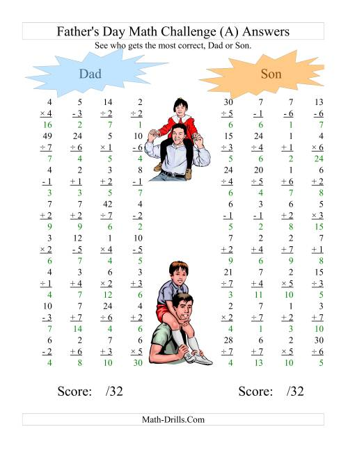 The Father's Day Dad and Son Challenge -- All Operations Range 1 to 7 (A) Math Worksheet Page 2