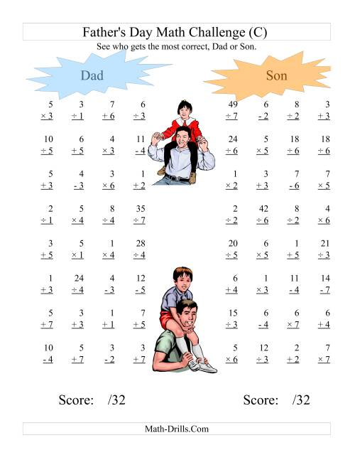 The Father's Day Dad and Son Challenge -- All Operations Range 1 to 7 (C) Math Worksheet