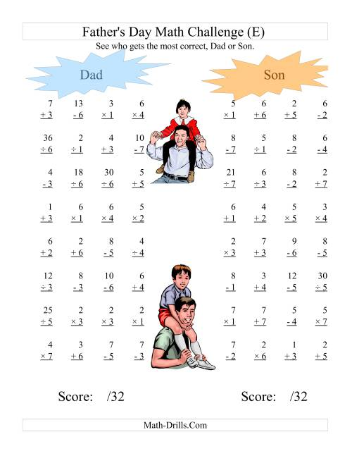 The Father's Day Dad and Son Challenge -- All Operations Range 1 to 7 (E) Math Worksheet