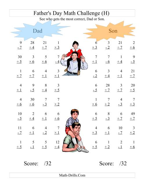 The Father's Day Dad and Son Challenge -- All Operations Range 1 to 7 (H) Math Worksheet