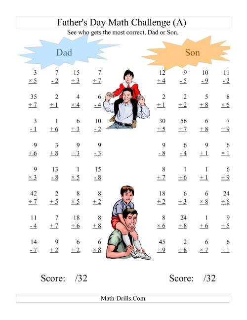 The Father's Day Dad and Son Challenge -- All Operations Range 1 to 9 (A) Holiday Math Worksheet