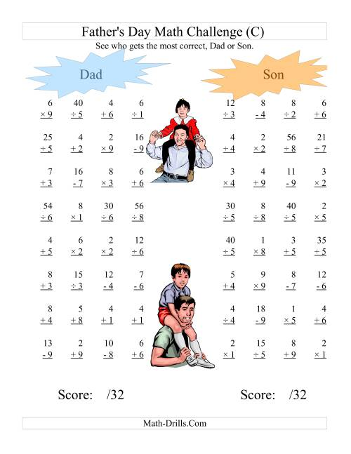 The Father's Day Dad and Son Challenge -- All Operations Range 1 to 9 (C) Math Worksheet