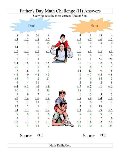 The Father's Day Dad and Son Challenge -- All Operations Range 1 to 9 (H) Math Worksheet Page 2