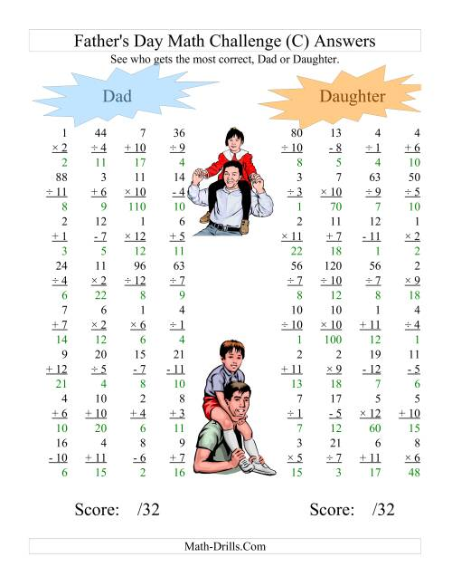 The Father's Day Dad and Daughter Challenge -- All Operations Range 1 to 12 (C) Math Worksheet Page 2