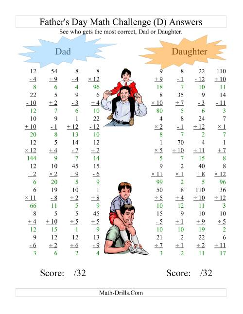 The Father's Day Dad and Daughter Challenge -- All Operations Range 1 to 12 (D) Math Worksheet Page 2