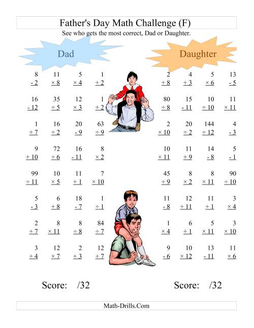 The Father's Day Dad and Daughter Challenge -- All Operations Range 1 to 12 (F) Math Worksheet