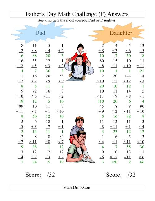 The Father's Day Dad and Daughter Challenge -- All Operations Range 1 to 12 (F) Math Worksheet Page 2