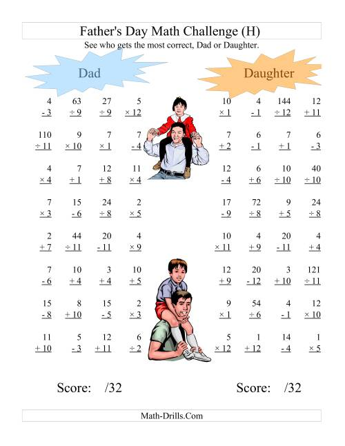 The Father's Day Dad and Daughter Challenge -- All Operations Range 1 to 12 (H) Math Worksheet