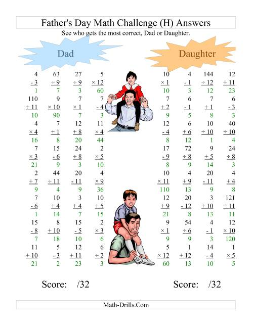 The Father's Day Dad and Daughter Challenge -- All Operations Range 1 to 12 (H) Math Worksheet Page 2