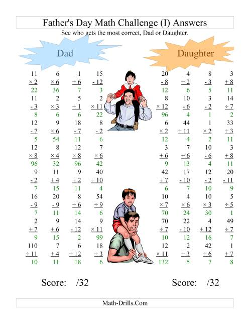 The Father's Day Dad and Daughter Challenge -- All Operations Range 1 to 12 (I) Math Worksheet Page 2