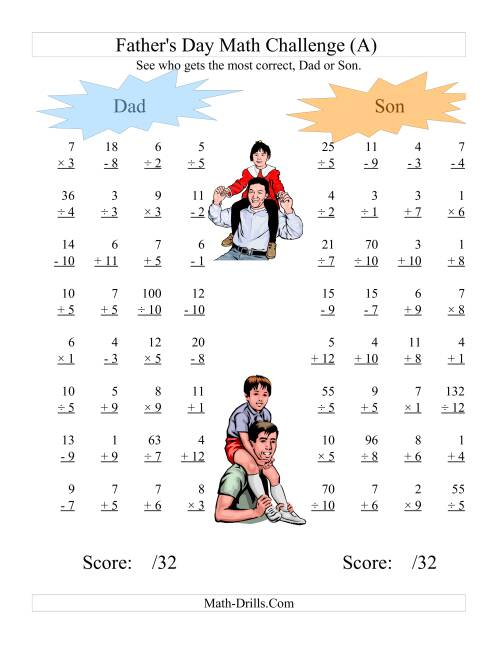 {Fathers Day Dad and Son Challenge All Operations Range 1 to 12 A – Dad Math Worksheets
