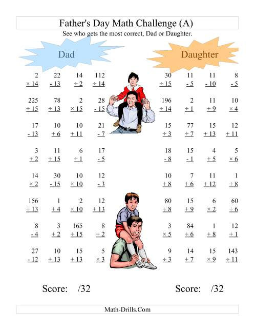 The Father's Day Dad and Daughter Challenge -- All Operations Range 1 to 15 (A) Holiday Math Worksheet