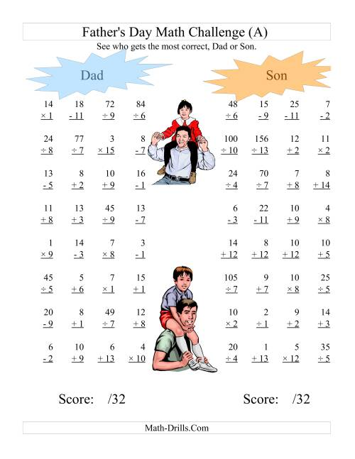 The Father's Day Dad and Son Challenge -- All Operations Range 1 to 15 (A) Holiday Math Worksheet