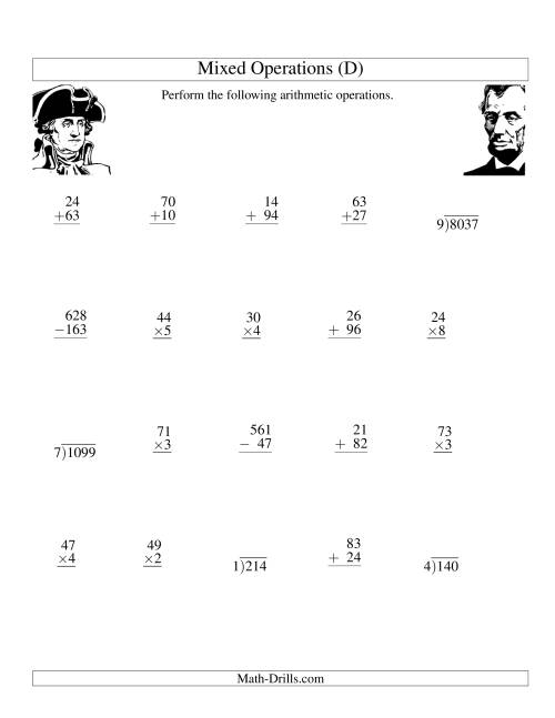 The President's Day Mixed Operations (D) Math Worksheet