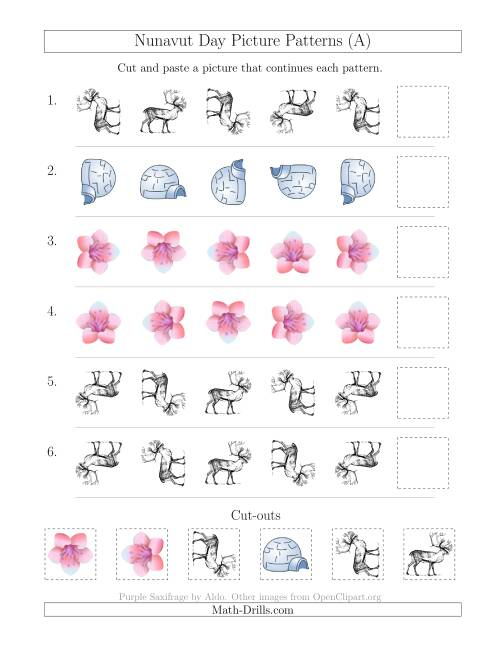 The Nunavut Day Picture Patterns with Rotation Attribute Only (A) Math Worksheet