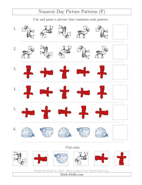 The Nunavut Day Picture Patterns with Rotation Attribute Only (F) Math Worksheet
